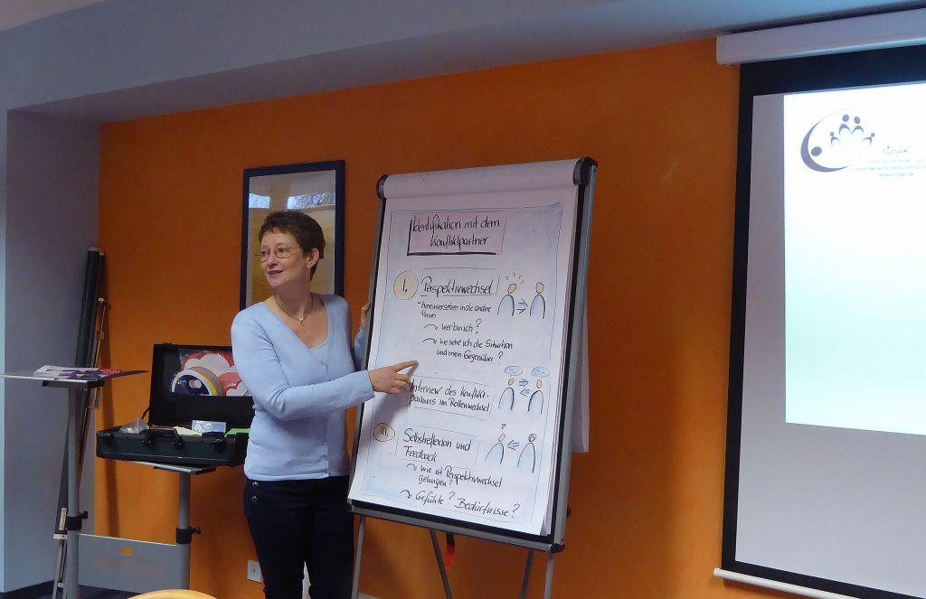 Carola Bartsch in einer Schulung am Flipchart